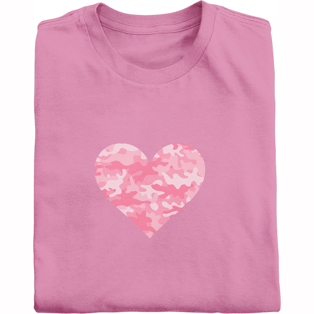 Pink camouflage heart shirt