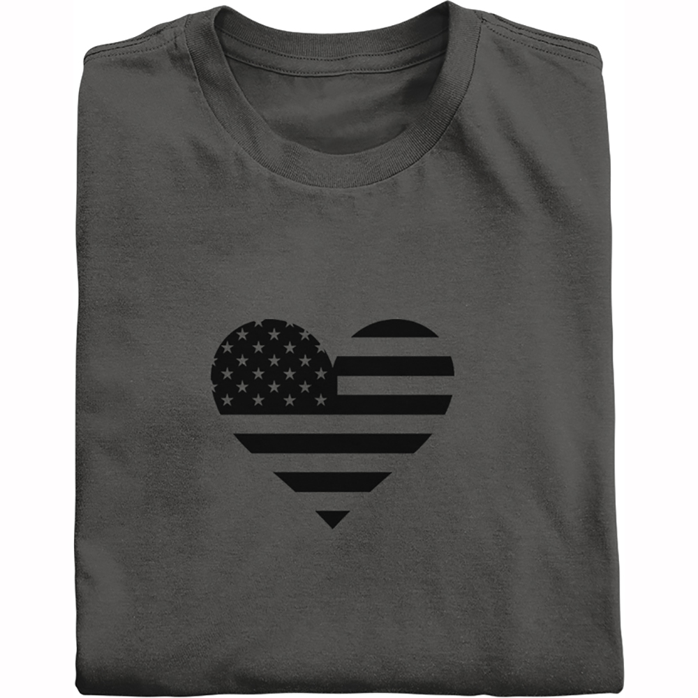 Black heart within U.S. flag shirt