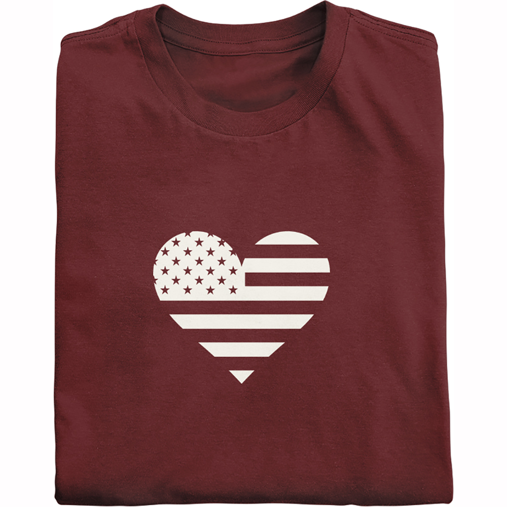White heart within U.S. flag shirt