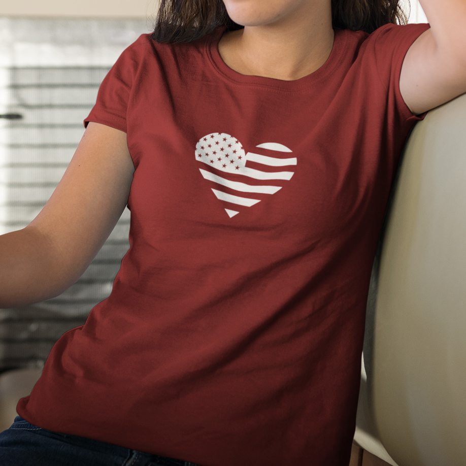 White heart within U.S. flag shirt